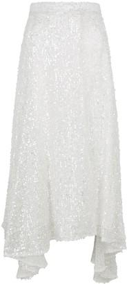 Walk of Shame White Sequin Midi Skirt