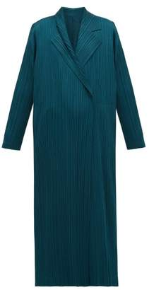 Pleats Please Issey Miyake Double-breasted Plisse Coat - Womens - Green