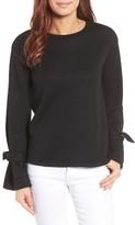 Gibson Petite Women's Tie Sleeve Sweatshirt
