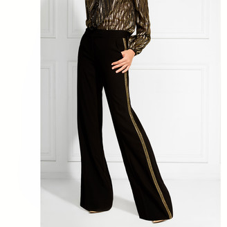 Rachel Zoe Canyon Gold Embroidered Wide-Leg Trousers