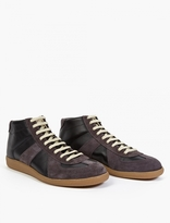 Maison Margiela Black Leather and Suede Hi-Top Replica Sneakers
