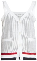 Thom Browne V-neck Mixed Stripe Cardigan Tank Top