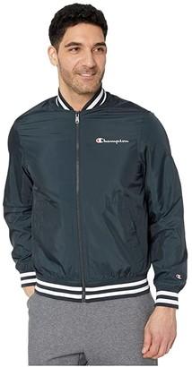 Champion LIFE Satin Baseball Jacket (Black) Men's Clothing