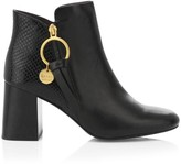 See by Chloe Louise Block-Heel Snakeskin-Embossed Leather Ankle Boots