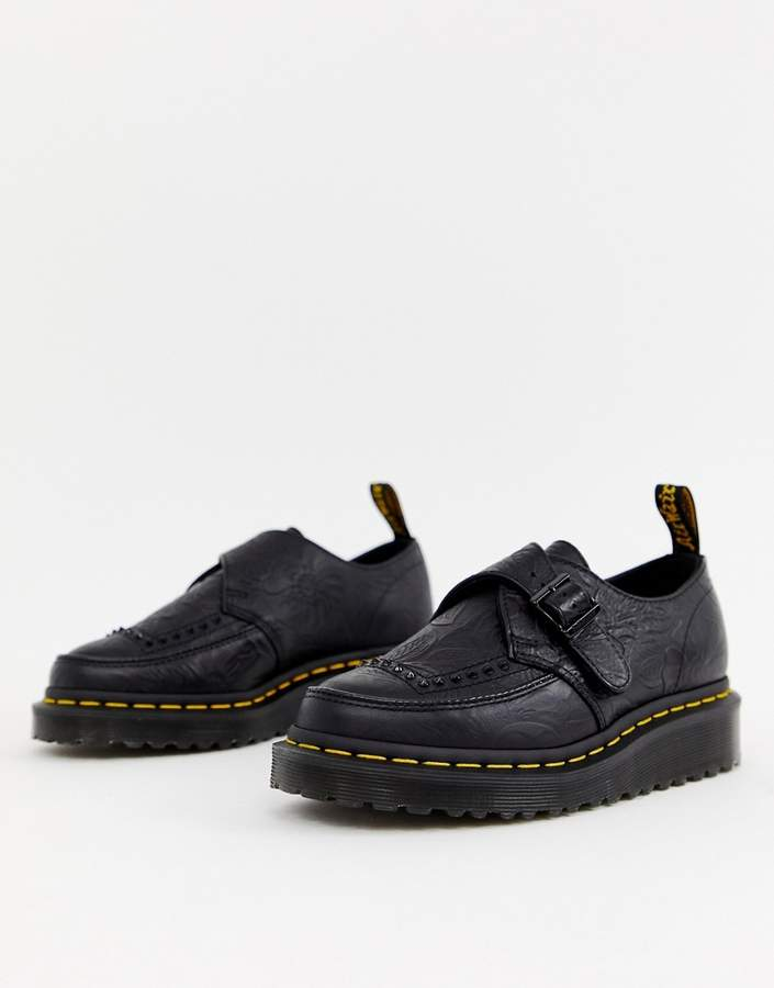Dr. Martens Ramsey II Black Embossed Leather Strap Chunky Flatform Shoes