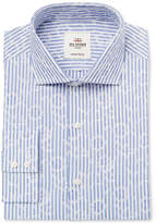 Ben Sherman Men's Slim-Fit Blue End on End Jacquard Stripe Dress Shirt