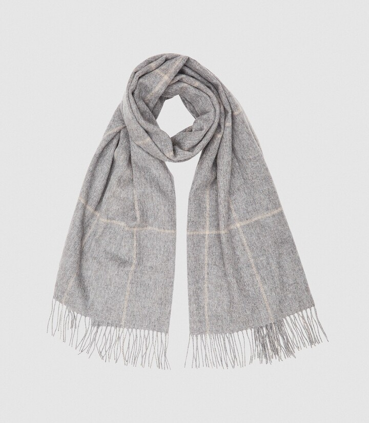 Thumbnail for your product : Reiss Polly - Wool Cashmere Blend Oversized Scarf in Grey