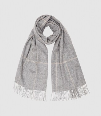 Reiss Polly - Wool Cashmere Blend Oversized Scarf in Grey