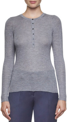 Gabriela Hearst Julian Cashmere-Silk Henley Sweater