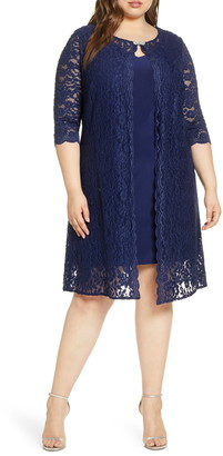 Alex Evenings Lace Mock Jacket Cocktail Dress