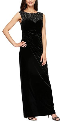 Alex Evenings Long Sleeveless Column Dress with Embroidered and Embellished Illusion Neckline (Black) Women's Dress