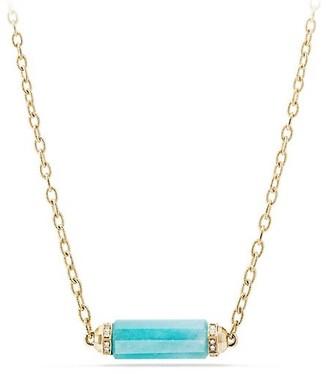 David Yurman Barrels Single Station Necklace with Gemstone & Diamonds in 18K Yellow Gold