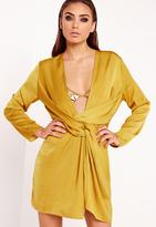 Missguided Satin Wrap Mini Dress Chartreuse