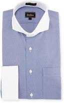 Neiman Marcus Classic-Fit Non-Iron Striped Dress Shirt, Blue
