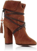 Aquazzura X Poppy Delevingne Suede Moonshine Ankle Boots