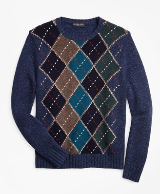 Brooks Brothers Merino Wool Argyle Crewneck Sweater