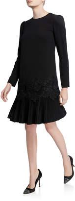 Lela Rose Lace-Trim Pleated-Hem Tunic Dress