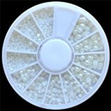 White Pearl Nail Art Stone Different Size Wheel Rhinestones Beads