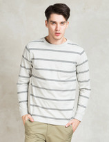 Saturdays NYC White James Marled Striped Pocket T-shirt
