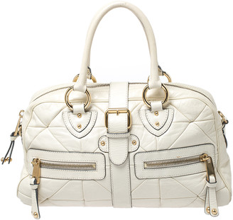 Marc Jacobs Cream Leather Double Zip Pocket Satchel