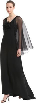 Crepe Envers Satin Long Dress W/ Cape