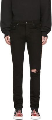 Amiri Black Leopard Half Track Broken Jeans