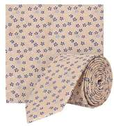 Burton Mens Ecru Floral Print Tie and Pocket Square Set