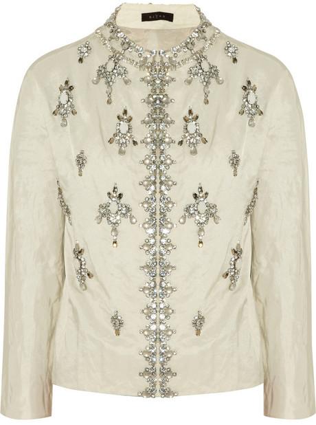 Biyan Karel embellished cotton-blend faille jacket