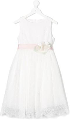Colorichiari floral-applique A-line lace dress