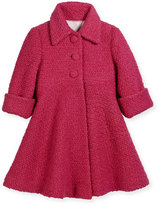 Helena Wool-Blend Boucle Swing Coat, Fuchsia, Size 7-14