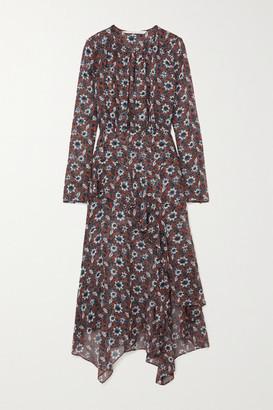 Veronica Beard Sazan Asymmetric Ruffled Floral-print Silk-chiffon Midi Dress - Brown