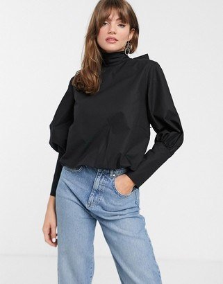 ASOS scarf tie deep cuff cotton top