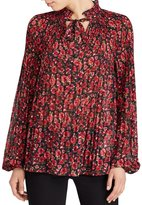 Lauren Ralph Lauren Petite Floral-Print Pleated Top