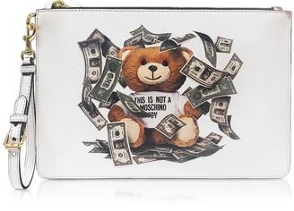 Moschino Money Teddy Bear White Clutch