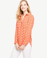 Ann Taylor Tall Orange Blossom Camp Shirt