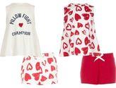 River Island Girls Pink heart print pyjama set multipack
