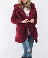 Lydiane Women's Non-Denim Casual Jackets WINE - Wine Faux Fur Pocket Cocoon Hooded Jacket - Women