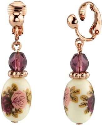 1928 Rose Gold Tone Purple Bead Flower Motif Porcelain Drop Earrings