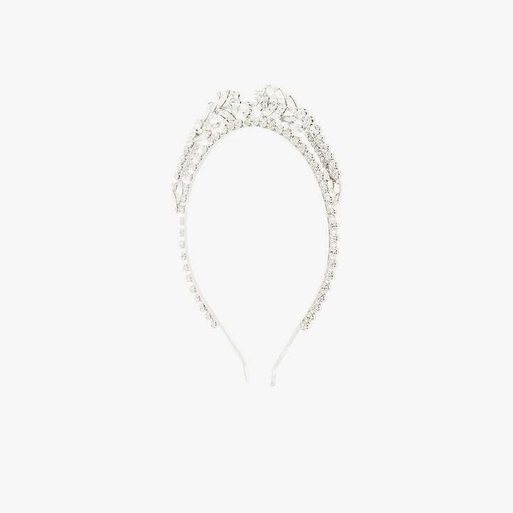 Alessandra Rich Silver Tone Crystal Wreath Headband
