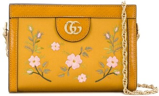 Gucci Floral Embroidered Shoulder Bag Senape Multicolor