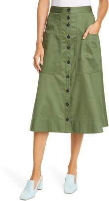 Tibi Harrison Cotton A-Line Midi Skirt