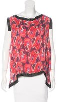 Thakoon Printed Leather-Trimmed Top