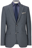Duchamp Woven Basketweave Tailored Blazer, Grey