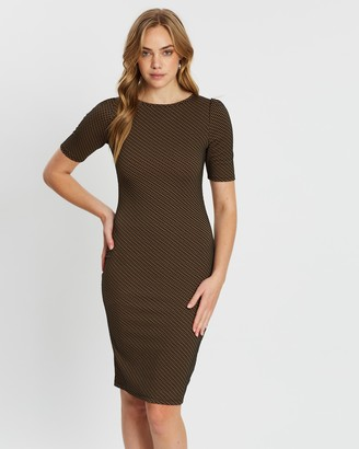 Dorothy Perkins Puff Sleeve Geo Jacquard Bodycon Dress