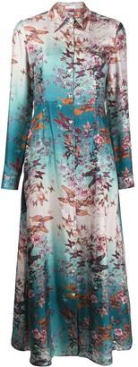 813 Butterfly Print Silk Dress