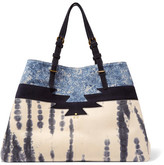 Jerome Dreyfuss Maurice Tie-dye Leather And Printed Suede Tote - Blue
