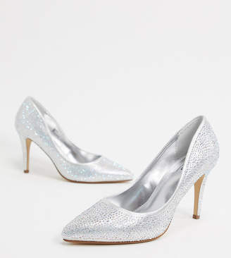 Dune believe wedding pointed high heels in silver glitter