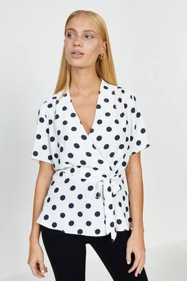 Coast Short Sleeved Spotty Wrap Top