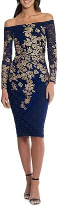 Xscape Evenings Floral Embroidered Lace Sheath Dress