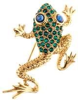 Oscar de la Renta Swarovski Crystal Embellished Frog Brooch